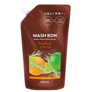 やわらか泡と天然精油で極上手洗いタイムを サラヤ 新発売 ウォシュボン WASHVON メーカー在庫限り品 手洗いウォッシュボン プライムフォームハーバルシトラス 400mlハンドソープ 詰替用