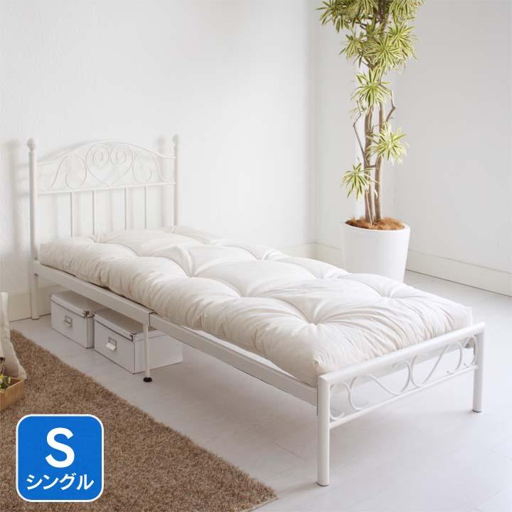 アイアン伸長式式ベッドS専用マット付き ホワイト BLTSWH-SFTN送料無料 ベッド シングル 寝室 ベッドルーム 寝具 【TD】 【代引不可】新生活 一人