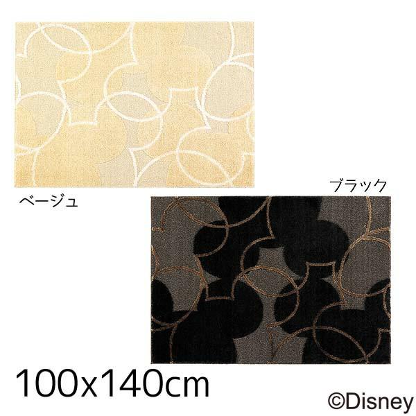 【送料無料】【TD】ミッキー パールラインラグ DRM-1004 140×200cmベージュ・ブラック 敷物 絨毯 マット ディズニー キャラクター【スミノエ】【取寄せ品】新生活 一人