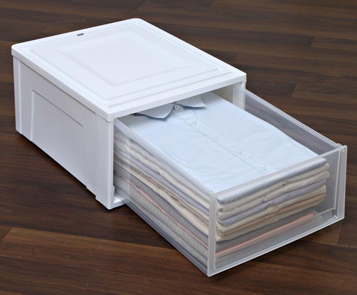 チェスト  収納ボックス 引き出し 浅型 3個セット 収納ボックス  BC-M アイリスオーヤマ 収納ケース 衣装ケース 衣類収納 幅35 奥行45 高さ23 積み重ね スタッキング 押入れ クローゼット プラスチック コンパクト ホワイト クリア