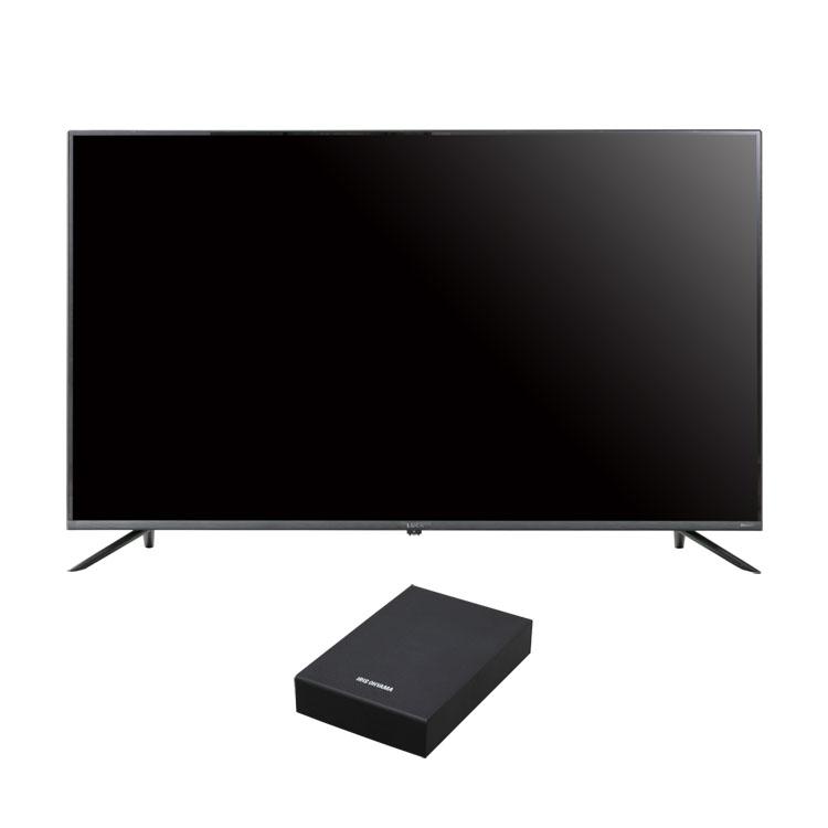 【2点セット】テレビ 50型 HDD セット送料無料 4Kテレビ ベゼルレスK 50型 外付けHDDセット品 テレビ HDD セット TV 4K 50V 50型 外付け ハードディスク アイリスオーヤマ