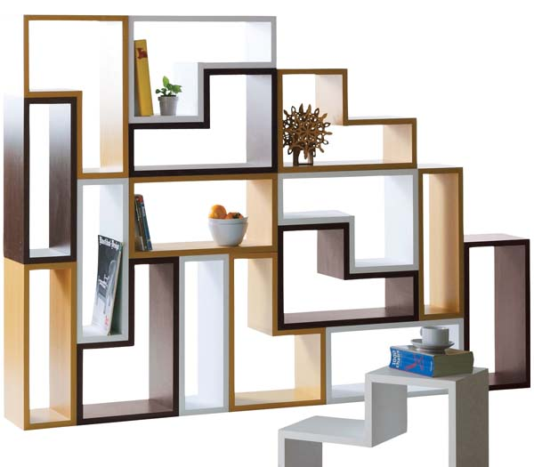 Puzzle Look AGSO NWS 558 White Natural Brown Wall Storage Bookcase CD Side Table Exhibition Stand Caf Lust Bookshelf Shelf Rack