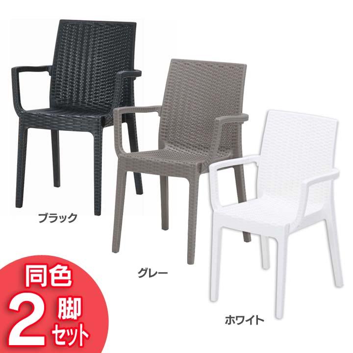 ガーデンチェア ガーデンファニチャー ガーデニング 椅子 イス プラスチック製 送料無料 アウトドア 《2脚セット》 ブラック ステラ 市場 肘付 FB 11234 おしゃれ チェアー