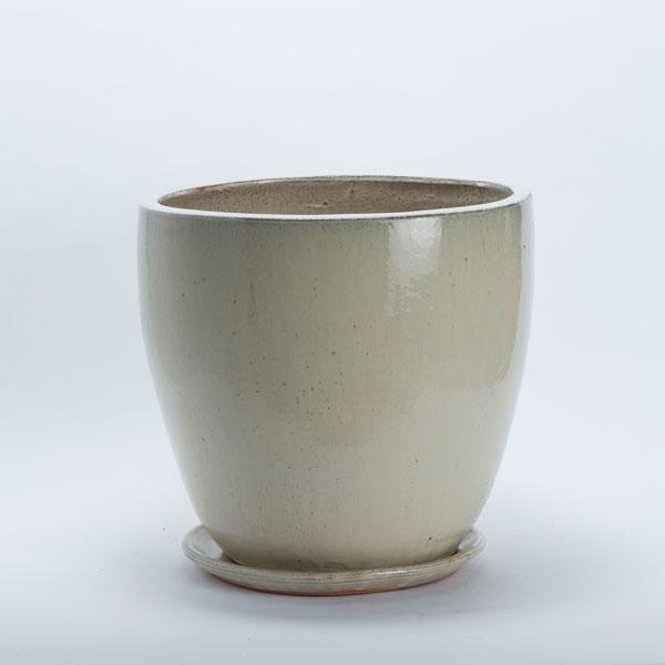 受皿付き陶器鉢:アイボリーGP057LV(穴あり)