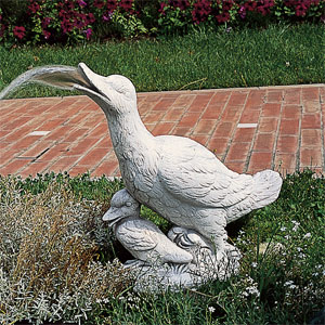 イタリア製石像:あひるの親子(噴水用・ポンプ別途)