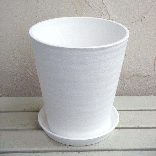 観葉植物におすすめ セラアート長鉢8号(白)M 鉢と受け皿のセット