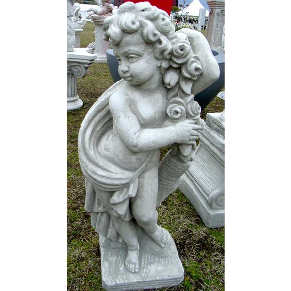イタリア製石像:季節の子供(大)春(高さ70cm)