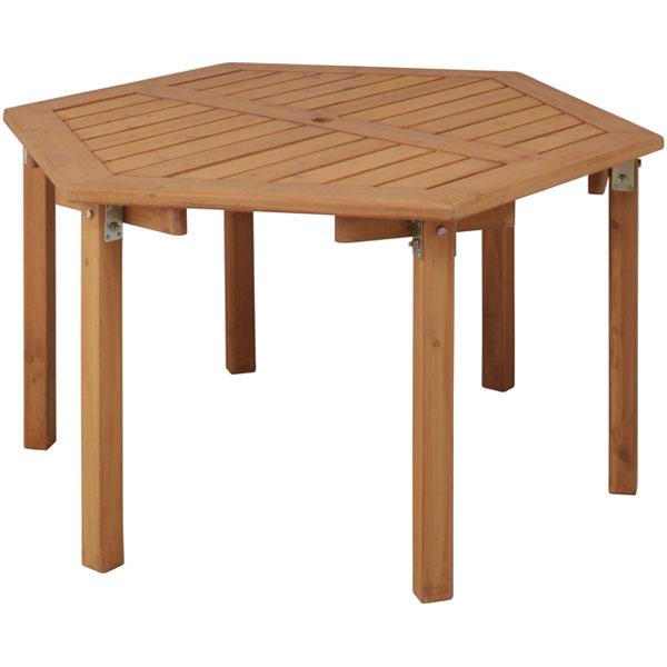 ウッディーガーデン六角テーブル