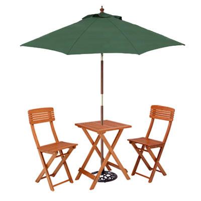 ガーデンフォールディングテーブルセットとパラソル・ベースのセット