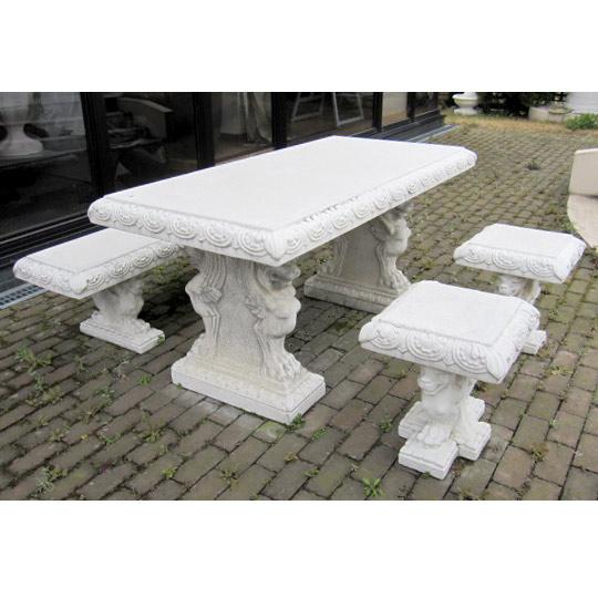 イタリア製大理石ガーデンファニチャー:角型テーブル