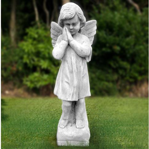 イタリア製石像:天使像:祈りの天使