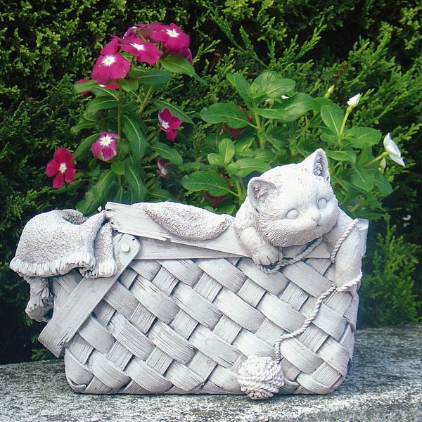 イタリア製花鉢:バスケット ねこ