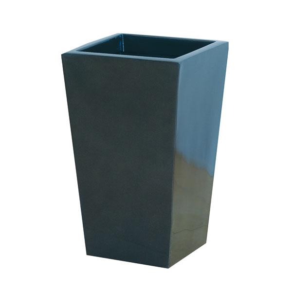 ファイバーグラス鉢カバー:スクエアーポットL型メタリックグレーL-35型(6~8号鉢用)