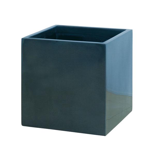 ファイバーグラス鉢カバー:スクエアーポットS型メタリックグレーS-43型(8~10号鉢用)