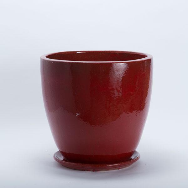 受皿付き陶器鉢:レッドGP057MR(穴あり)