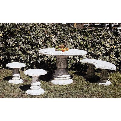 円型テーブルと椅子2脚&ベンチのセット