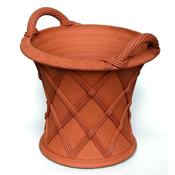 Willow Potteryの鉢 バスケットウエア(ハンドル付):EBH3 直径37cm