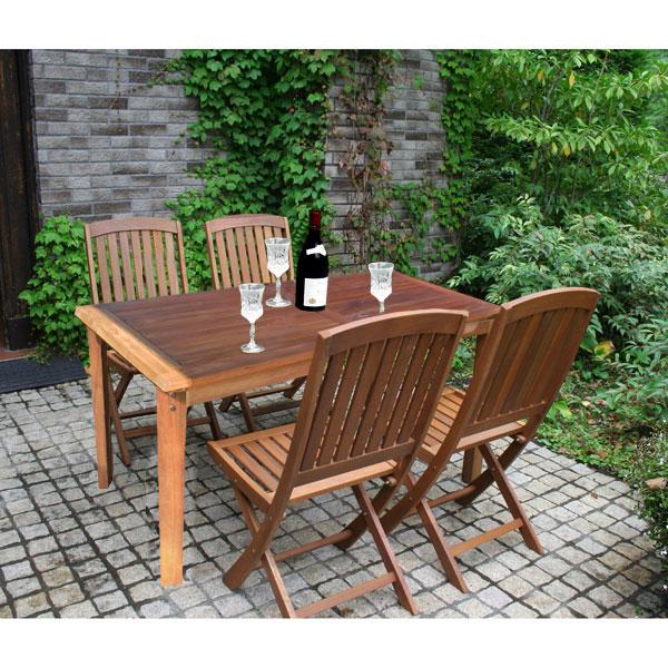 [送料無料]アカシア材の4人がけガーデンテーブルセット(テーブル1台とチェア4脚)