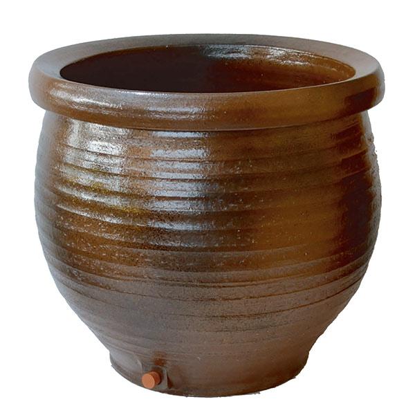 信楽焼の水鉢:鉄自然釉16号