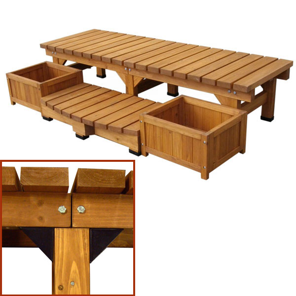 【上品】 プラス デッキ縁台小:ステップとプランターのセット:園芸ネット-エクステリア・ガーデンファニチャー