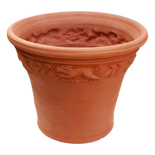 Willow Potteryの鉢 スプリッジドポット:野うさぎ 直径36.5cm