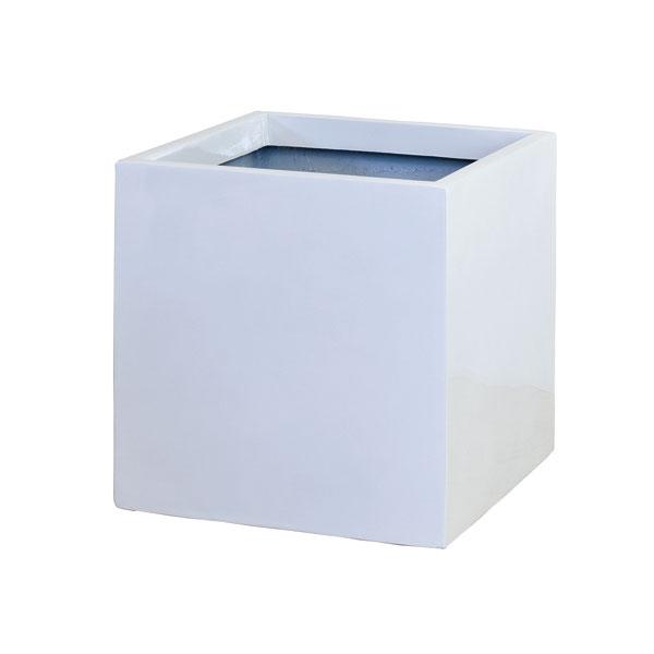 ファイバーグラス鉢カバー:スクエアーポットS型ホワイトS-34型(6~8号鉢用)
