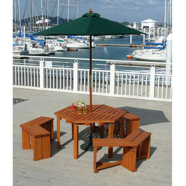 ウッディーガーデン六角テーブルセット直径2.7mパラソル・ベース付