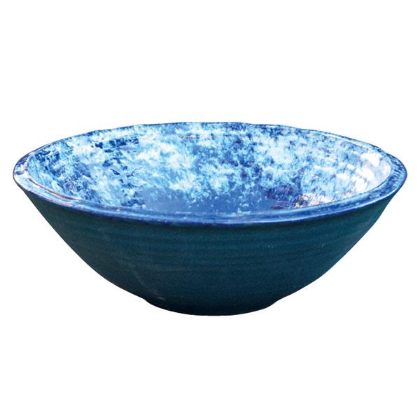 信楽焼の水鉢:青白窯変14号