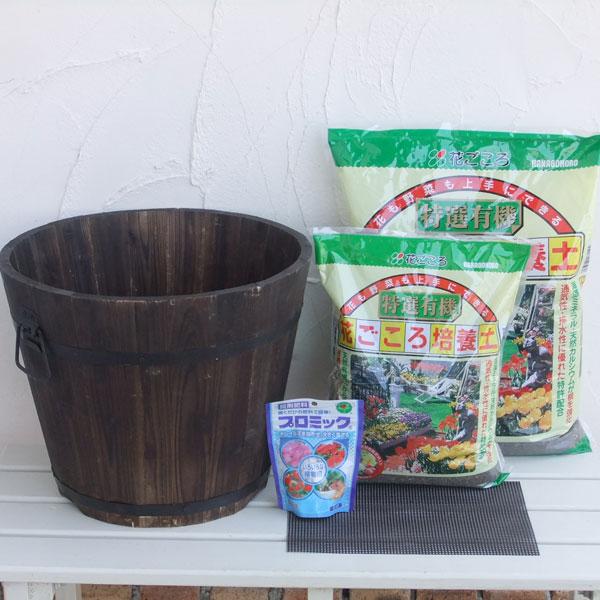 日本全国 送料無料 登場大人気アイテム 草花用:焼杉プランター:深丸 大 と土と肥料のセット