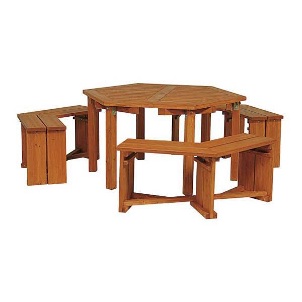 ウッディーガーデン六角テーブルセット