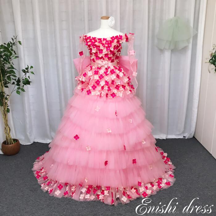 カラードレス 花柄 色変更 ウェディングドレス ピンク キラキラ ビーズ 結婚式 披露宴 二次会 前撮り パーティー チュール バックリボン 花嫁ドレス かわいい エレガント 豪華