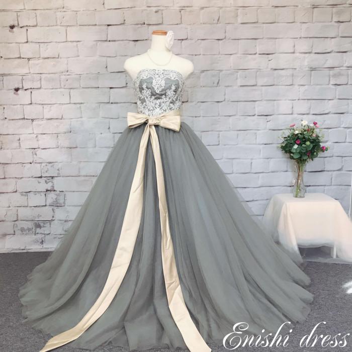 カラードレス グレー 色変更 ハートカット ウェディングドレス パーティードレス サッシュベルト ボリューム 結婚式 披露宴 二次会 前撮り 花嫁ドレス かわいい エレガント 豪華