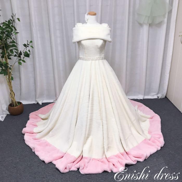ウェディングドレス ファー オフホワイト 雪化粧 パール オフショルダー 取り外し 暖かい 肌触り 結婚式 披露宴 二次会 前撮り パーティー 華やか ゴージャス かわいい ピンク 冬