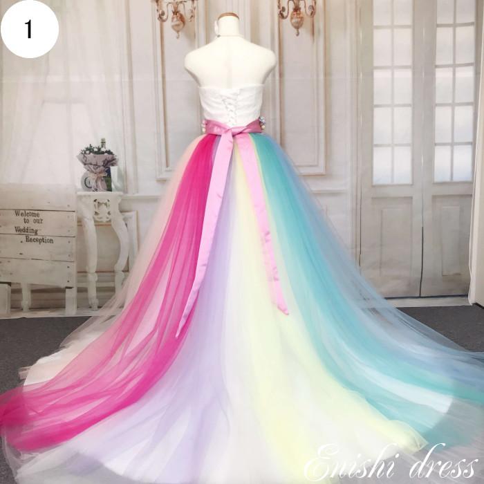 ウェディングドレス チュールスカート オーバースカート 色変更可 レインボーカラー 7色 結婚式 披露宴 二次会 前撮り パーティー カラフル おしゃれ インスタ映え ゴージャス