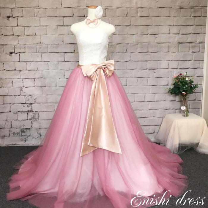 ウェディングドレス オーバースカート 小豆 ピンク ウエストリボン ネクタイ セット 色変更可 レース チュール 結婚式 披露宴 二次会 前撮り パーティー かわいい ゴージャス エレガント