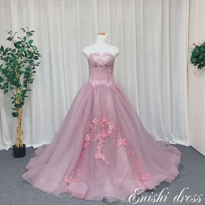 ウェディングドレス カラードレス キラキラ ピンク ハートカット Aライン 着やせ 花柄 チュール レース 結婚式 披露宴 二次会 前撮り パーティー 色変更可