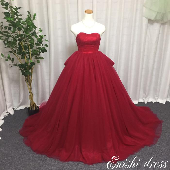 ウェディングドレス カラードレス ソフトチュール バックリボン 色変更可 ハートカット かわいい 上品 豪華 エレガント 優雅 着痩せ インスタ映え 結婚式 披露宴 二次会 前撮り パーティー