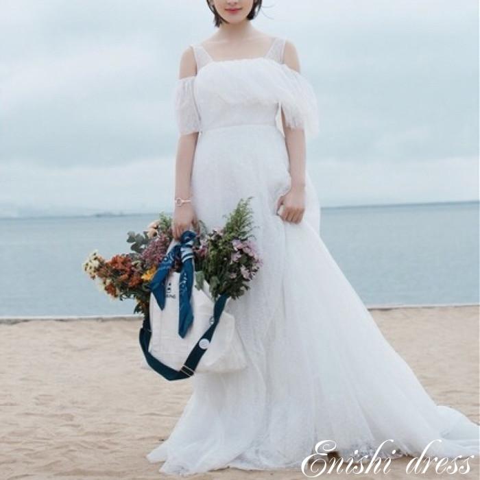 ウェディングドレス オフショルダー チュール 軽い 軽量 結婚式 披露宴 二次会 前撮り パーティー おしゃれ インスタ映え 上品 高級感 豪華 華やか エレガント ゴージャス