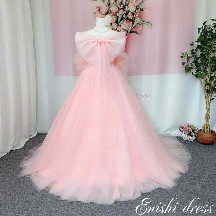 ウェディングドレス カラードレス ピンク 結婚式 披露宴 二次会 前撮り パーティー おしゃれ インスタ映え 上品 高級感 豪華 華やか エレガント ゴージャス 色変更可