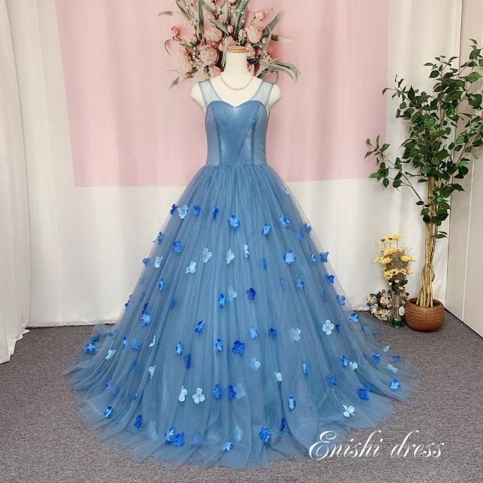 オーバードレス ブルーグレー 花柄 造花 ウェディングドレスの色直し 結婚式 披露宴 二次会 前撮り パーティー 装飾 飾り アクセサリー 花嫁ドレス かわいい エレガント 豪華 色変更 サイズオーダー無料