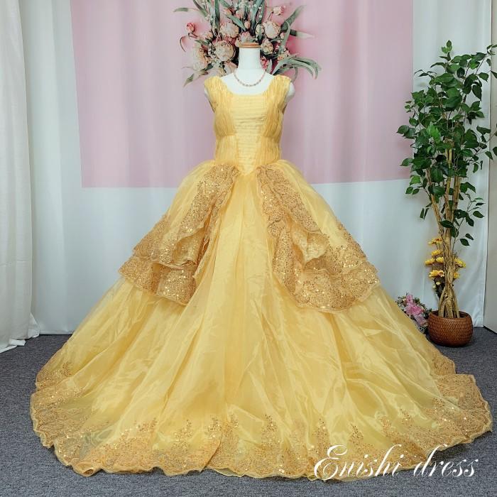 ウェディングドレス オーガンジー イエロー ゴールド ベルのドレス カラードレス ボリューム 結婚式 披露宴 二次会 前撮り パーティー ハートカット チュール かわいい ゴージャス エレガント 色変更 オーダーメイド