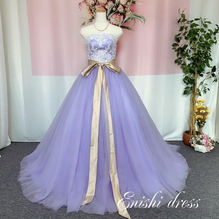 カラードレス 紫  パープル 色変更 ハートカット ウェディングドレス パーティードレス サッシュベルト ボリューム 結婚式 披露宴 二次会 前撮り 花嫁ドレス かわいい エレガント 豪華