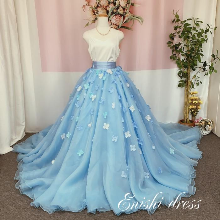 オーバースカート 花びら 造花 オーガンジー ウェディングドレスの色直し ブルー 水色 アクセサリー 色変更無料 ロングトレーン ボリューム エレガント 結婚式 披露宴 二次会 前撮り パーティー 花嫁 かわいい 豪華 色変更 サイズオーダー 無料