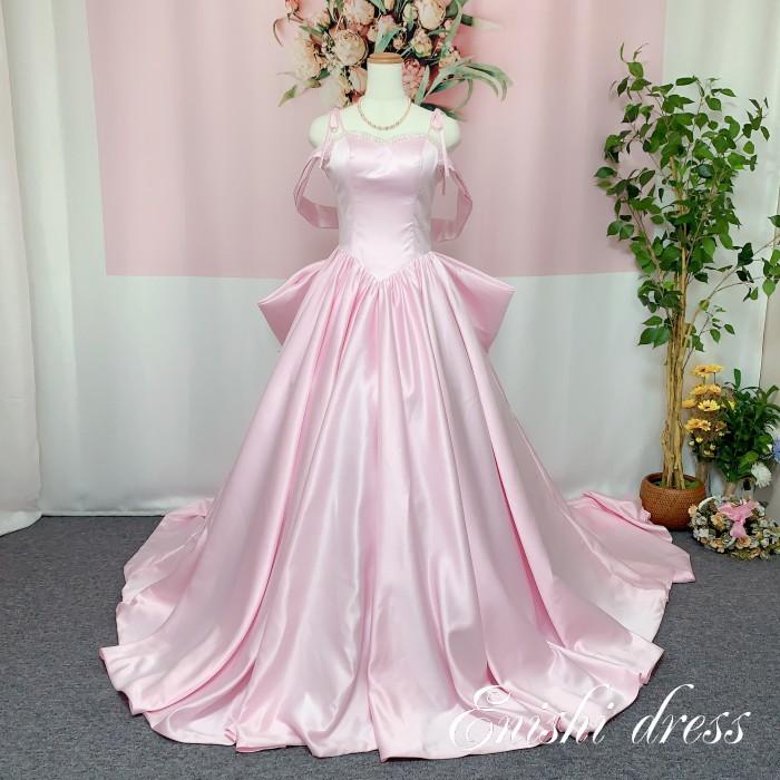 ウェディングドレス カラードレス サテン 薄いピンク オフショルダー バックリボン 肩紐 ビーズ 二次会 花嫁 ドレス 前撮り 後撮り フォトウェディング 結婚式 披露宴 パーティー かわいい エレガント 豪華 色変更 サイズオーダー オーダーメイド無料