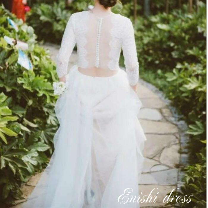 ウェディングドレス セパレートドレス レース チュール 透明 くるみボタン 結婚式 披露宴 二次会 前撮り パーティー かわいい エレガント 豪華 ハンドメイド サイズオーダー