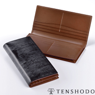 【送料無料】【天賞堂】ブライドルレザー長財布 BREAST WALLET ブラック/ブラウン 紙幣とカードのみを収納する長財布は余裕のある大人の印
