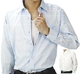 【送料無料】楽々脱ぎ着 こだわりワンタッチシャツ 一見すると普通のボタン、実はスナップボタンなんです。