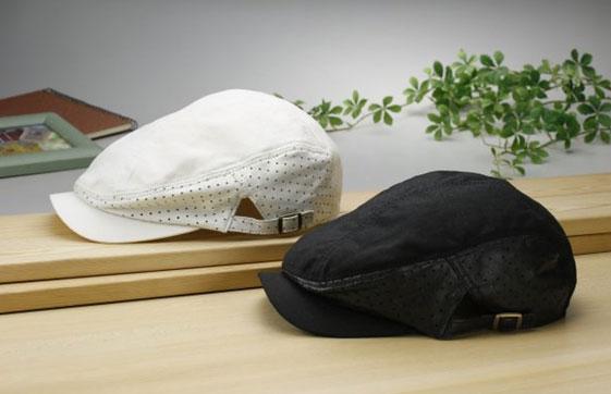 【送料無料】羊革麻混メッシュハンチング2色組 YS-21ホワイト、ブラック の2色組