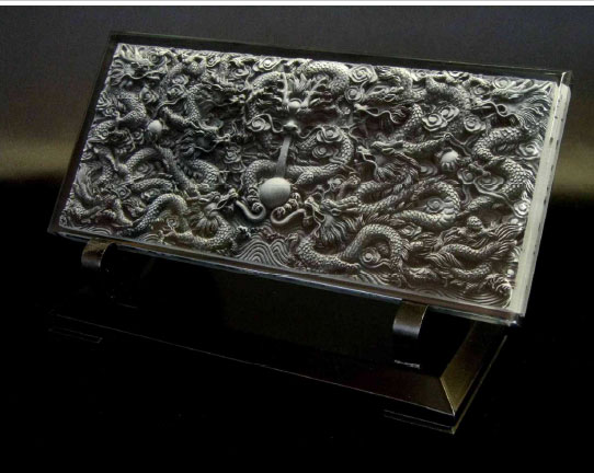 聖獣九龍如意宝珠( 3 D アート) 意のままに願いを叶える如意宝珠を携える開運インテリアです