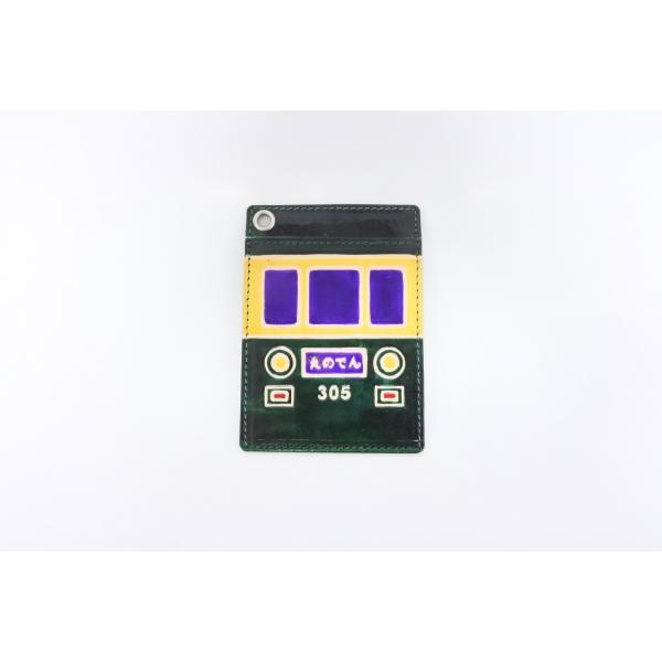 江ノ電300形をモチーフにしたパスケース 江ノ電パスケース 定期券 カード入れ 収容枚数 江ノ電限定 緑 えのでん